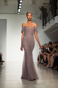 ruched #Bridesmaid long gown in warm grey by http://amsale.com/ Photography: Daniel Dorsa - danieldorsa.com/