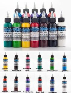 Tattoo Inks: Fusion Tattoo Ink Sample Pack Set Of 12 Pigment Color 1 Oz 30 Ml Bottle Usa Made BUY IT NOW ONLY: $139.99