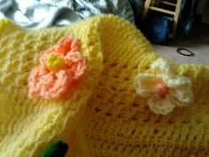 Yellow and peach wild rose appliques