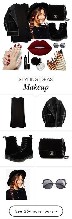 """""""i love black"""" by aaliyahratri on Polyvore featuring McQ by Alexander McQueen, Dr. Martens, H&M, Chanel, ASOS, Wood Wood, Lime Crime, Marc Jacobs, modern and Dark"""