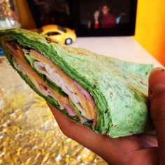 Spinach tortilla wraps, ham, turkey, cheddar cheese, laughing cow Swiss cheese, and lettuce. #yum #new #addiction