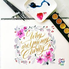 Finished product #calligrafikas  #brushlettering #watercolor   Paper: Arches block paper 185gsm Paint: Rembrant & Holbein watercolors Brush: Silver Brush Black Velvet round no 8, 6, 2 & script no 1