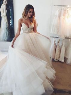 Charming Wedding Gown,Stunning V-neck Wedding Dress,Sleeveless Sweep Train Ivory Wedding Dress with Beading Waist ,Plus Size Wedding Dresses,Wedding Dresses,SVD56