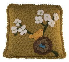 Crochet Bird in Nest Pillow. $6.00, via Etsy.