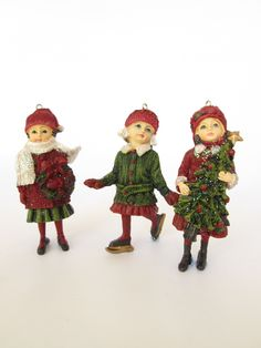 Three children all wrapped up for Christmas. A lovely set of traditional decorations to bring out every year. Vintage Christmas, Christmas Time, Xmas, Christmas Decorations, Christmas Ornaments, Holiday Decor, Gisela Graham Christmas, Deck The Halls, Three Kids