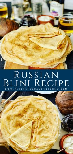 Russian Pancakes commonly known as Blinchiki, Crepes, Blintzes or Blini are a staple food in Slavic countries. Perfect for breakfast. Easy and delicious Russian Crepes Blini Recipe (Блины) Ukrainian Recipes, Russian Recipes, Ukrainian Food, Russian Dishes, Russian Foods, Crepe Recipes, Food Staples, International Recipes, Clean Eating Snacks