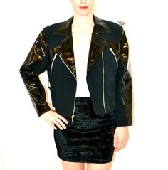 90s Black Patent Leather Jacket// Vintage by Hookedonhoney on Etsy, $95.00