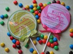 Lollipop Party Invitations