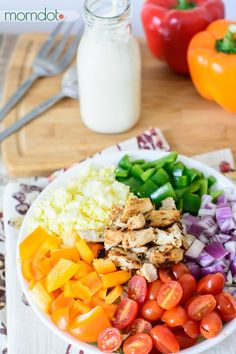 Rainbow Chef Salad: Taste the Rainbow in this gorgeous way to enjoy your veggies this week- see its easy to eat healthy when the food is so beautiful!