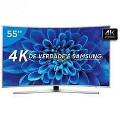 """Smart TV LED Curva 55"""" Samsung 4K Ultra HD - KU6500 Conversor Digital Wi-Fi 3 HDMI 2 USB"""
