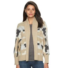Women's Woolrich Harvest Southwest Open-Front Cardigan, Size: Medium, Silver