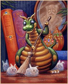 Randal Spangler Dragon Hatchling Egg Baby Babies Cute Funny Humor Fantasy Myth Mythical Mystical Legend Dragons Wings Sword Sorcery Magic Art Fairy Maiden Whimsy