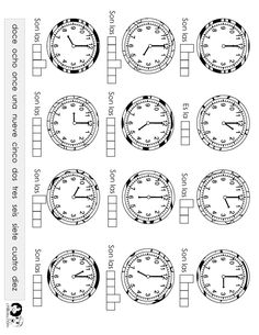 time worksheet spanish -- FREE to print Spanish Songs, Spanish Grammar, Spanish Vocabulary, Spanish Teacher, Spanish Lessons, Learn Spanish, Spanish 1, Spanish Worksheets, Spanish Teaching Resources