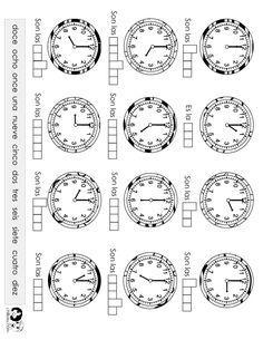 Hojas de trabajo para descargar con actividades del reloj