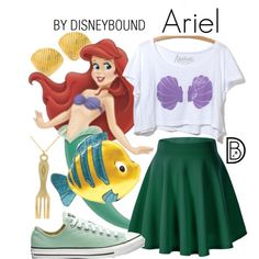 A fashion look from July 2016 by leslieakay featuring disney, mermaid, disneybound and disneycharacter