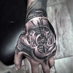 50 Unbelievable Tattoos For Men – Inconceivable Ink Design Ideas – Hand Tattoos Mandala Hand Tattoos, Skull Hand Tattoo, Hand Tats, Skull Tattoo Design, Skull Tattoos, Tattoo Designs Men, Body Art Tattoos, Sleeve Tattoos, Pirate Hand Tattoo