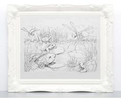 I was inspired by a children's storybook I developed for my kids. This drawing/illustration represents the magic of nature found in a pond with friendly animals - turtle, fish, dragonfly, and others. Their friendship and smiling faces are portrayed in this print. It is an expression of imagination and magic.   #art #artwork #pond #vintage #animal #fish #turtle #dragonfly #drawing #illustration #vintage #story #book #coloringbook