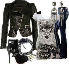 "Not my typical style but I'd totally wear it! ""Rocker"" by dori-tyson ❤ liked on Polyvore"