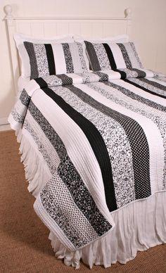 black and white quilts | Cottage Classics Tasha Black White Quilt Set