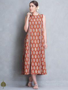 Madder Block Printed Pleated Cotton Dress by Jaypore Linen Dresses, Cotton Dresses, Cotton Nighties, Kurta Patterns, Indian Designer Suits, Kurta Designs Women, Maxi Robes, Batik Dress, Lookbook