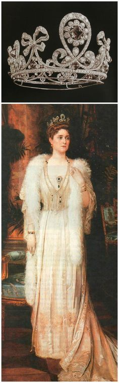 """Above: Tiara, by Fabergé and Bolin, 1900. Cabochon emeralds and diamonds. Image via Elena Horvathova on LiveJournal (http://eho-2013.livejournal.com/62382.html). Below: Portrait of Empress Alexandra Fyodorovna wearing the tiara, by Nikolai Bodarevsky, 1907. From the collection of the State Museum """"Tsarskoye Selo."""""""