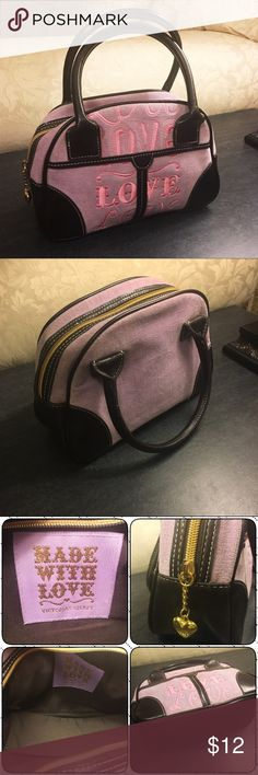 "Victoria's Secret Made With Love mini bag VS Made With Love mini bag, light purple velour and chocolate brown real leather trim, gold hardware with VS heart pull. 10""W 7.5""H 4"" D. Excellent condition, no rips, stains, tears, smoke free home. Victoria's Secret Bags Mini Bags"