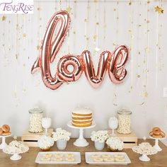 Cheap decoration valentines day, Buy Quality decorative decorative directly from China decoration marriage Suppliers: FENGRISE Rosegold Love Letter Foil Balloons Champagne Love Balloon Wedding Party Decoration Valentines Day Gift Marriage Decor Rose Gold Balloons, Wedding Balloons, Birthday Balloons, Letter Balloons, Mylar Balloons, Easy Party Decorations, Birthday Party Decorations, Propositions Mariage, Rose Gold Decor