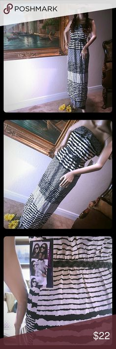 Strapless Maxi by Trixxi Black and white striped, zebra, maxi dress by TRIXXI  Size small  Comfortable elastic stretch band and ruffle across the top elastic waist with a braided belt and bronze gold tone metal Trixxi Dresses Maxi