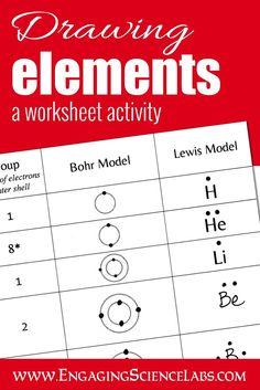 diagramming atoms constructing lewis and bohr models printable worksheets
