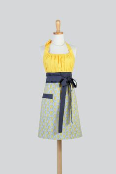 Cute Kitsch . Modern Gray and Yellow Paisley with Daisies Womans Chef Apron - #CreativeChics