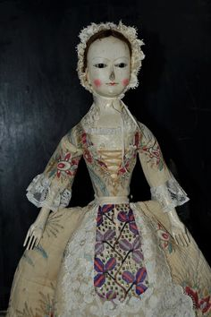REPRODUCTION ANTIQUE ENGLISH WOODEN QUEEN ANNE DOLLS AND IZANNAH WALKER DOLLS