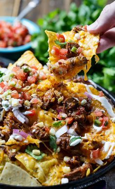 BBQ Brisket Nachos- perfect for game day and a great way to use up leftover brisket.