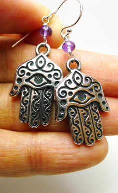 Hand of Hamsa Charm Earrings