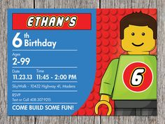 Building Blocks Birthday Party Invitation LEGO by aprintaffair, $14.00