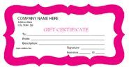 Free printable personalized gift certificates.