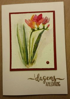 Watercolor: Daniel Smith, Sentiments: Gittes eget design, Papir: Canson XL aquarelle. SU. Embossing powder: Ranger - Gold Tinsel