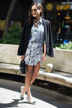 Jamie Chung makes a black blazer and skirt casual chic with Chanel espadrilles