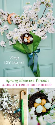 Short on time? Make this DIY 5-minute Front Door Umbrella Wreath. A charming way to add a Spring Showers welcome to your home this Spring!  via @jencarrollva