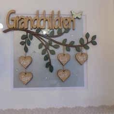 Your place to buy and sell all things handmade Christmas Box Frames, Family Birthday Board, Family Tree Frame, New Grandparents, White Box Frame, Family Birthdays, Grandparent Gifts, Wooden Hearts, Baby Girl Gifts