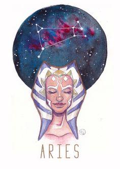 Star Wars Constellations - Zodiac by enerJax Yes! Same sign as Ahsoka! Aries Art, Taurus And Gemini, Zodiac Art, Zodiac Signs, Horoscope Signs, Star Wars Saga, Star Trek, Star Wars Personajes, Star Wars Merchandise