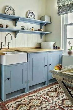 Modern small kitchen designs are clean and very simple. With a modern design for your small kitchen, you can create […] Rustic Kitchen, New Kitchen, Blue Country Kitchen, Country Blue, Country Kitchens, Country Decor, Country Style, Awesome Kitchen, French Country