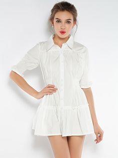 White Shirt A-line Dress - Fashion Clothing, Latest Street Fashion At Abaday.com