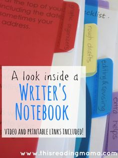 Inside a Writer's Notebook ~ TONS of free resources for organizing a child's writing {and a link to a guest post on The Notebooking Fairy| This Reading Mama