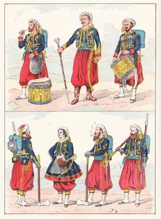 French; Imperial Guard, Zouaves, 1854 from Hector Large's Le Costume Militaire Vol III