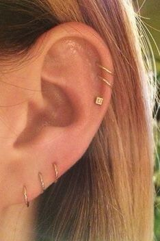 Ohrknorpel Piercing, All Ear Piercings, Ear Peircings, Cute Piercings, Multiple Ear Piercings, Cartilage Piercings, Unique Piercings, Body Piercings, Mens Piercings