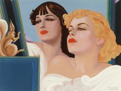 Alberto Vargas (American, 1896-1982). Two Girls with a Squirrel. Gouache on board. 17 x 23.625 in.