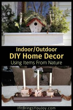 Nature-inspired decor using items from nature gives a unique, one-of-a-kind look for DIY indoor and outdoor home decor. Reuse fallen trees, birch, pine cones, and boughs. Or, find great deals on Amazon for items to create stylish DIY home decor. #DIY #DIYhomedecor Cool Diy Projects, Home Projects, Winter Planter, Hobbies To Try, Outdoor Christmas Decorations, Christmas Ideas, Eco Friendly House, Nature Decor, New Things To Learn