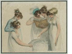 A group of five Ladies examining a globe, two looking at a book, all in classical-style draped gowns, their hair in top-knots. Attributed to Adam Buck (Irish, 1759-1833)