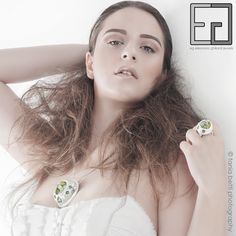FOREST COLLECTION porcelain, moss, platinum necklace and ring