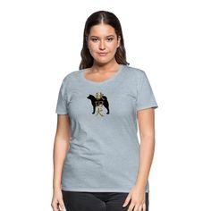 Maria Uusivirta Design   Akita inu silhouette and kanji - Women's Premium T-Shirt.  You can also customize your own shirt. #japaneseakita #risingsun #japanese #kanji #akitainulove #akitainusilhouette #dogsilhouette #silhouette #hachiko #loyaldog #loyal #mariauusivirta #mariauusivirtadesign Creative Shop, Customize Your Own Shirt, Hachiko, Viscose Fabric, Pullover, How To Roll Sleeves, Akita, Women Brands, Cute Woman